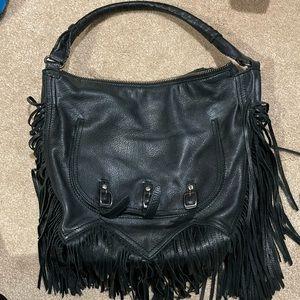 Sam Edelman black leather fringe shoulder bag